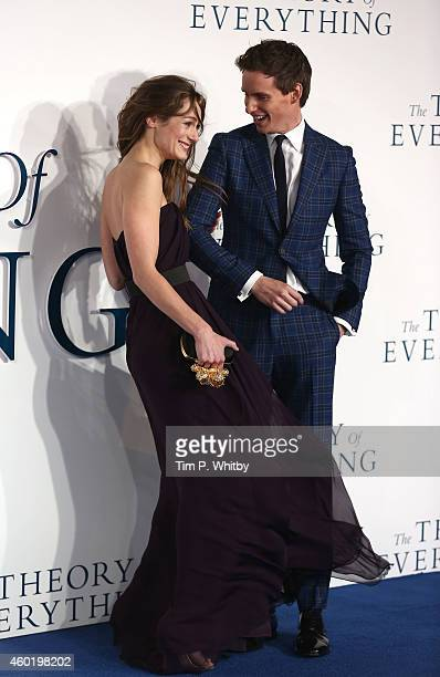 Hannah Bagshawe and Eddie Redmayne attend the UK Premiere of The Theory Of Everything at Odeon Leicester Square on December 9 2014 in London England