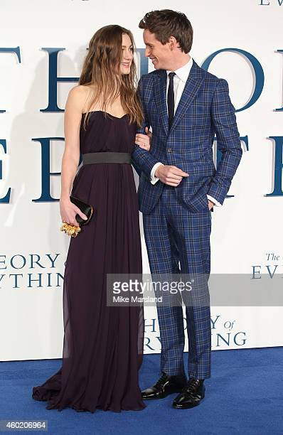 """Hannah Bagshawe and Eddie Redmayne attend the UK Premiere of """"The Theory Of Everything"""" at Odeon Leicester Square on December 9, 2014 in London,..."""