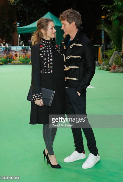 Hannah Bagshawe and Edward Redmayne attend the World Premiere of 'Early Man' at BFI IMAX on January 14 2018 in London England