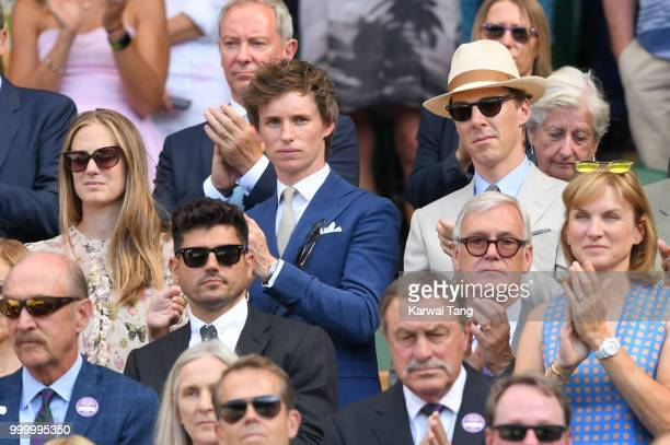Hannah Bagshawe Eddie Redmayne and Benedict Cumberbatch attend the men's single final on day thirteen of the Wimbledon Tennis Championships at the...