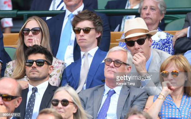 Hannah Bagshawe Eddie Redmayne and Benedict Cumberbatch attends the men's singles final on day thirteen of the Wimbledon Tennis Championships at the...