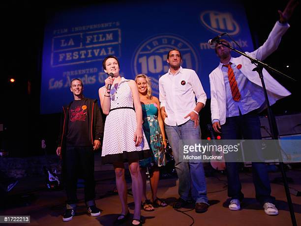Hannah Bailey, front, and the cast of American Teen speak at the 2008 Los Angeles Film Festival's American Teen at Ford Amphitheatre on June 25, 2008...