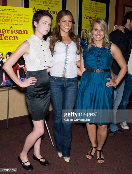 """Hannah Bailey, Hilary Cruz and Megan Krizmanich attend the premiere of """"American Teen"""" at the Chelsea Cinemas on July 24, 2008 in New York City."""