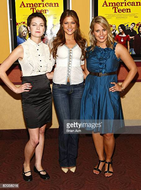 """Hannah Bailey, Miss Teen USA Hilary Cruz, and Megan Krizmanich attend the New York premiere of """"American Teen"""" at the Chelsea Cinemas on July 24,..."""