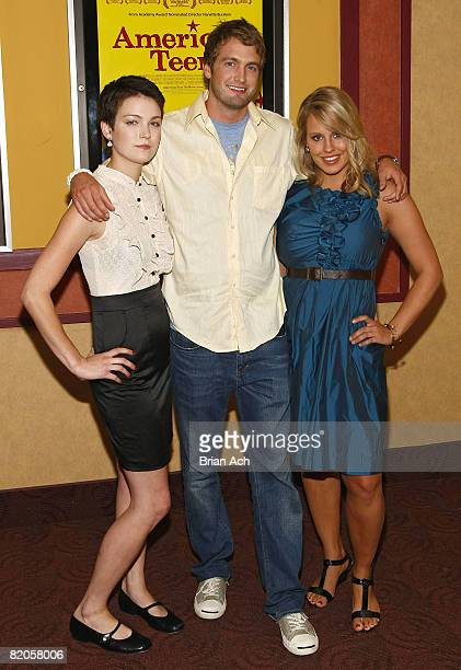 """Hannah Bailey, Mitch Reinholt, and Megan Krizmanich attend the New York premiere of """"American Teen"""" at the Chelsea Cinemas on July 24, 2008 in New..."""