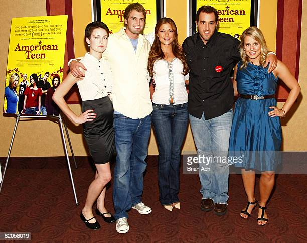 """Hannah Bailey, Mitch Reinholt, Miss Teen USA Hilary Cruz, Colin Clemens, and Megan Krizmanich attend the New York premiere of """"American Teen"""" at the..."""