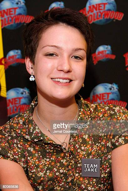 """Hannah Bailey of the documentary """"American Teen"""" signs autographs at Planet Hollywood in Times Square on July 25, 2008 in New York City."""