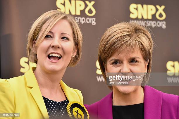 Hannah Bardell SNP candidate for Livingston joins Scotland's First Minister Nicola Sturgeon as she gives a speech setting out the SNP's plans to...