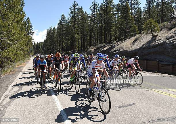 Hannah Barnes of Great Britain riding for UnitedHealtcare Pro Cycling Team leads the peleton wearing the best young rider jersey during stage two of...