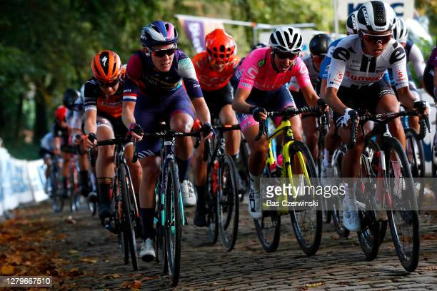 Hannah Barnes of The United Kingdom and Team Canyon Sram Racing / Coryn Rivera of The United States and Team Sunweb / Cobblestones / during the 9th...