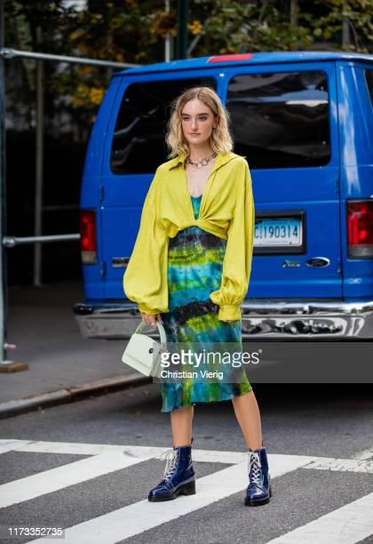Hannah Baxter is seen wearing batik skirt outside Collina Strada during New York Fashion Week September 2019 on September 08, 2019 in New York City.