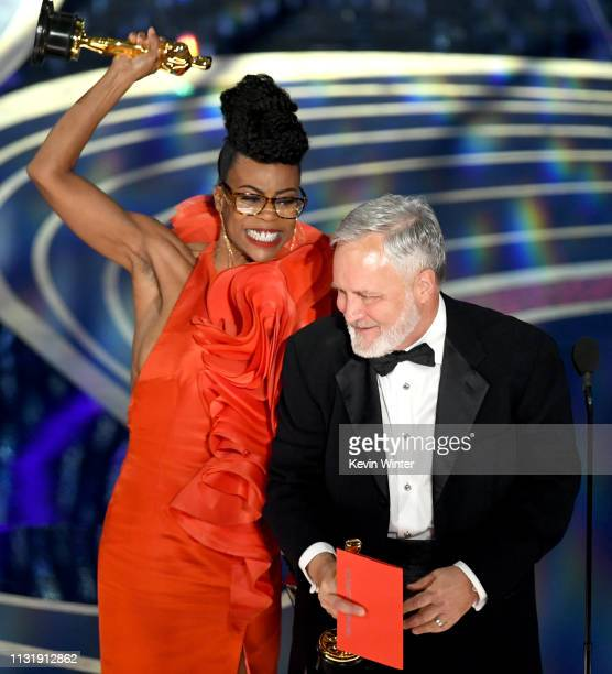 Hannah Beachler and Jay Hart accept the Production Design award for 'Black Panther' onstage during the 91st Annual Academy Awards at Dolby Theatre on...