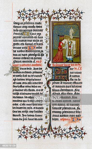 Hannah before Eli the high priest 14131419 From the Breviary of John the Fearless produced in Paris Illustration from Illuminated Manuscripts in the...