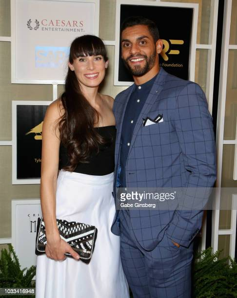 Hannah Bellemare and her husband PierreEdouard Bellemare of the Vegas Golden Knights attend Imagine Dragons' fifth annual Tyler Robinson Foundation...