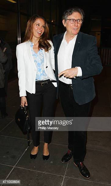 Hannah Beth King and Gabriel Byrne attend the Late Late Show on April 24, 2015 in Dublin, Ireland.