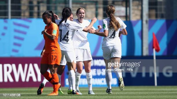 Hannah Blake of New Zealand celebrates her team's first goal with team mates during the FIFA U20 Women's World Cup France 2018 group A match between...