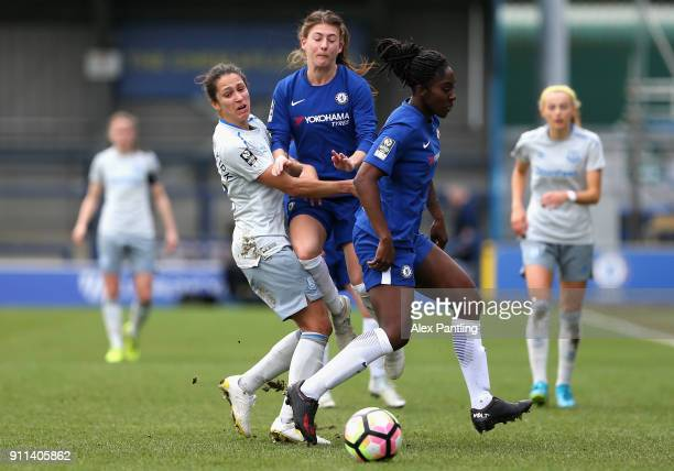 Hannah Blundell and Anita Asante of Chelsea clash with Courtney SweetmanKirk of Everton during the WSL match between Chelsea Ladies and Everton...