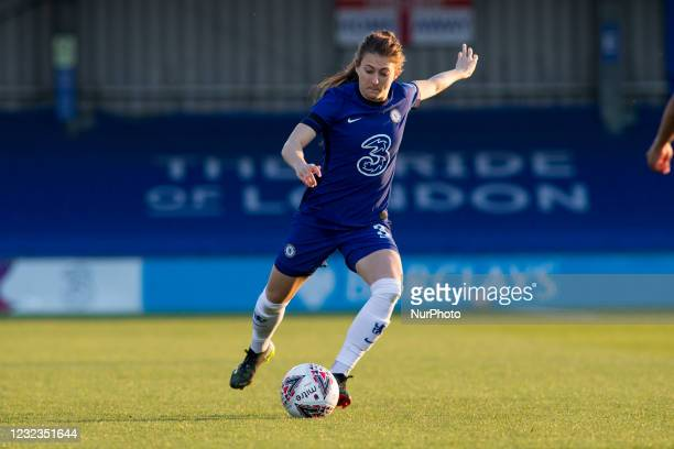 Hannah Blundell controls the ball during the 2020-21 FA Womens Cup fixture between Chelsea FC and London City at Kingsmeadow on April 16, 2021 in...