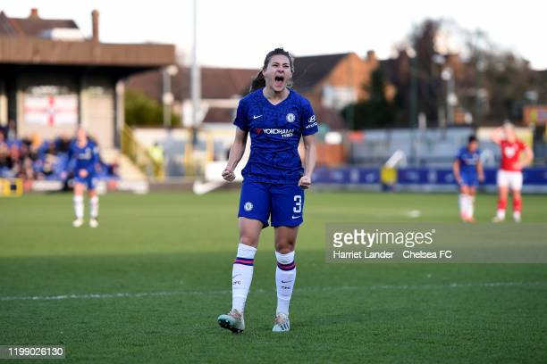 Hannah Blundell of Chelsea celebrates after scoring her team's second goal during the Barclays FA Women's Super League match between Chelsea and...