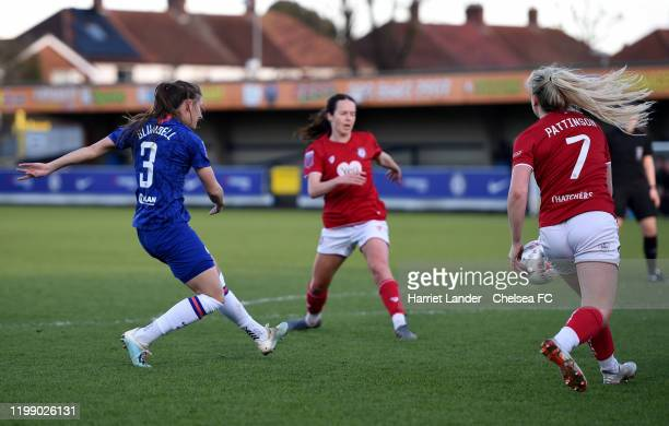 Hannah Blundell of Chelsea scores her team's second goal during the Barclays FA Women's Super League match between Chelsea and Bristol City at...