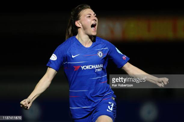 Hannah Blundell of Chelsea Women celebrates scoring during the UEFA Women's Champions League Quarter Final First Leg match between Chelsea Women and...