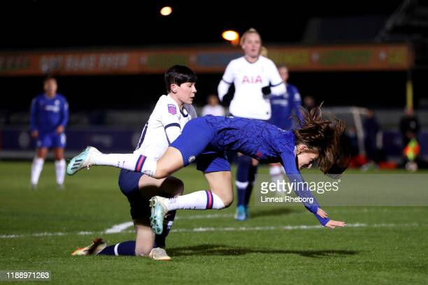 Hannah Blundell of Chelsea Women is brought down by Ashleigh Neville of Tottenham Hotspur Women in the area which leads to Chelsea being given a...