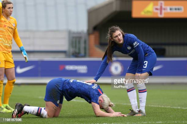 Hannah Blundell of Chelsea Women with an injured Bethany England of Chelsea Women during the Barclays FA Women's Super League match between Chelsea...