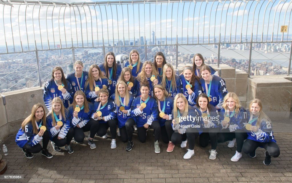 U.S. Women's Olympic Ice Hockey Team Visit Empire State Building