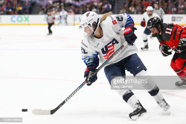Hannah Brandt of the U.S. Women's Hockey Team handles the puck in the game against the Canadian Women's National Team at Honda Center on February 08,...
