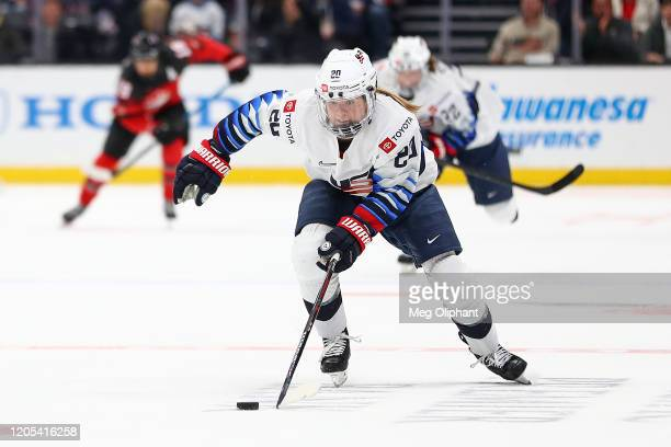 Hannah Brandt of the U.S. Women's Hockey Team handles the puck in the third period against the Canadian Women's National Team at Honda Center on...