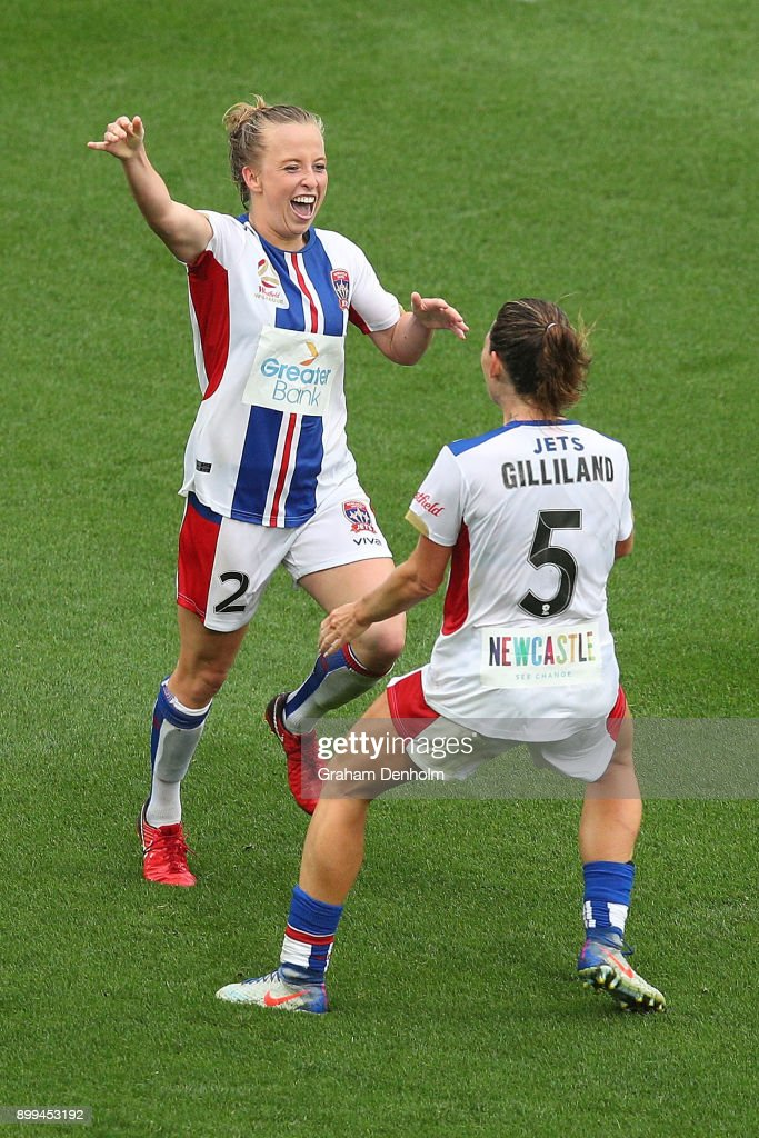 Hannah Brewer of the Jets (L) celebrates her goal during the round nine W-League match between the Melbourne Victory and the Newcastle Jets at AAMI Park on December 29, 2017 in Melbourne, Australia.