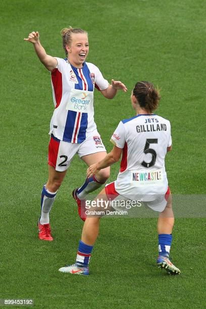 Hannah Brewer of the Jets celebrates her goal during the round nine WLeague match between the Melbourne Victory and the Newcastle Jets at AAMI Park...
