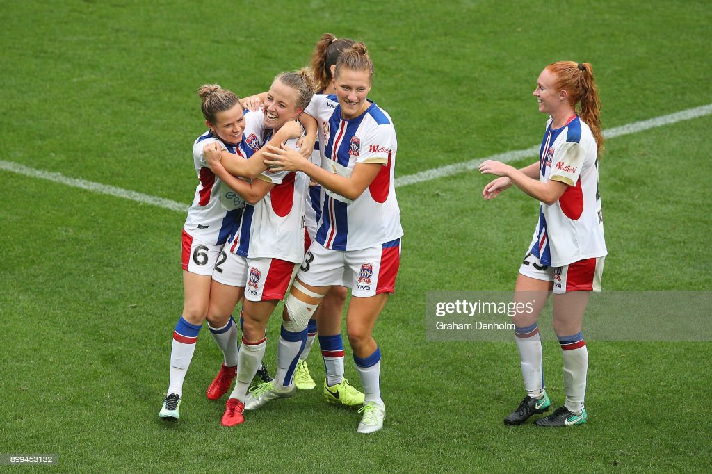 Hannah Brewer of the Jets (2-L) celebrates her goal with her teammates during the round nine W-League match between the Melbourne Victory and the Newcastle Jets at AAMI Park on December 29, 2017 in Melbourne, Australia.