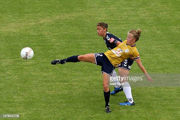 Hannah Brewer of the Jets competes for the ball during the round eight WLeague match between the Newcastle Jets and the Melbourne Victory at...