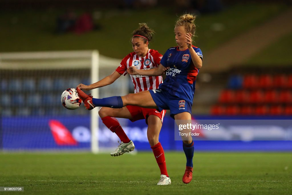 Hannah Brewer of the Jets competes for the ball with her City opponent during the round 14 W-League match between the Newcastle Jets and Melbourne City FC at McDonald Jones Stadium on February 3, 2018 in Newcastle, Australia.