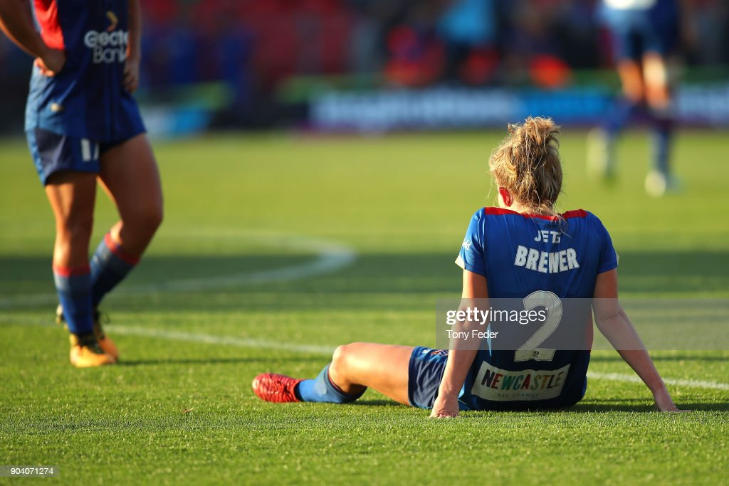 Hannah Brewer of the Jets looks dejected after the game during the round 11 W-League match between the Newcastle Jets and Adelaide United at McDonald Jones Stadium on January 12, 2018 in Newcastle, Australia.