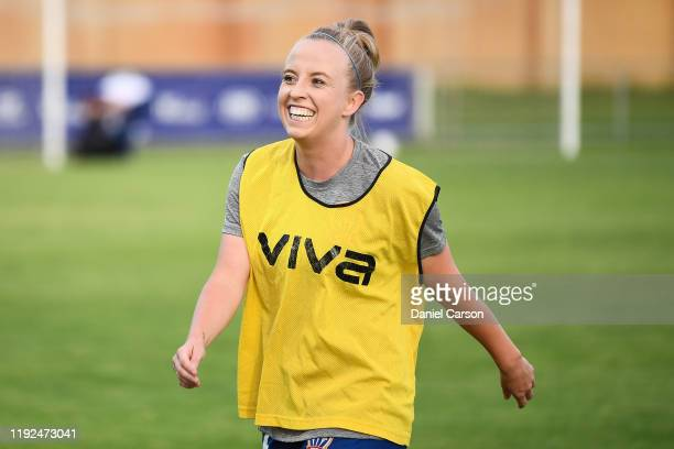 Hannah Brewer of the Newcastle Jets comes off the pitch after warmup during the round four W-League match between the Perth Glory and the Newcastle...