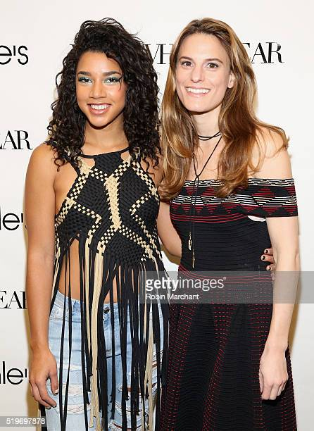 Hannah Bronfman and Brooke Jaffe attend Bloomingdales Festival Dressing Event on April 7 2016 in New York City