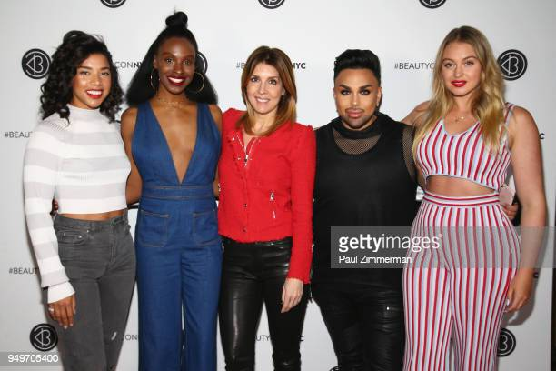 Hannah Bronfman Essence Gant Michele Promaulayko Angel Merino and Iskra Lawrence speak on a panel during Beautycon Festival NYC 2018 Day 1 at Jacob...