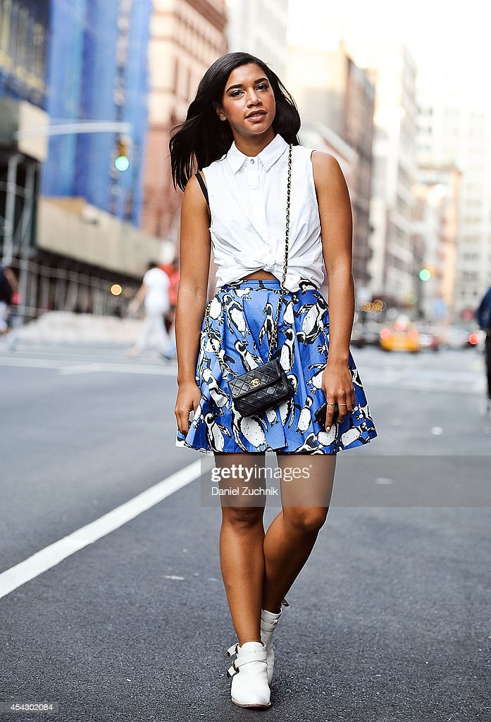 DJ Hannah Bronfman is seen around Noho wearing a Rag and Bone shirt, Elle Sasson Ivone skirt, Jeffrey Campbell boots and a Chanel bag on August 28, 2014 in New York City.