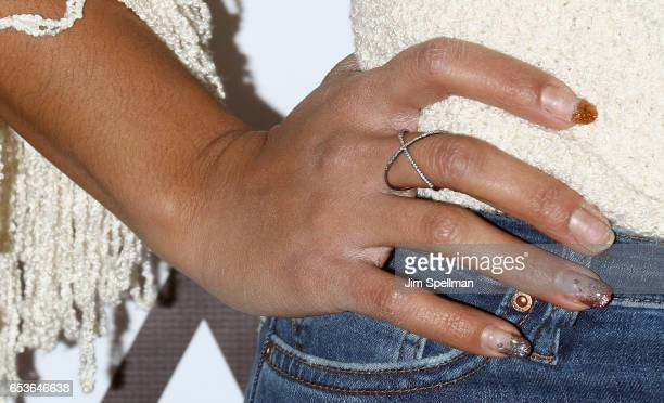 Hannah Bronfman jewelry detail attends the Tracy Anderson Flagship Studio opening at Tracy Anderson Flagship Studio on March 15 2017 in New York City