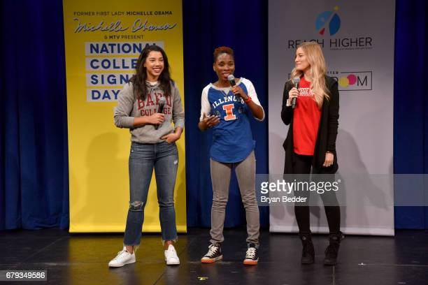 Hannah Bronfman, Luvvie Ajayi and iJustine attend the MTV's 2017 College Signing Day With Michelle Obama at The Public Theater on May 5, 2017 in New...