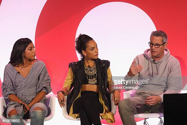Hannah Bronfman Robin Arzonl and Jon Wexler speak onstage during the It's Not About You A Discussion About Authenticity in Influencer Marketing panel...