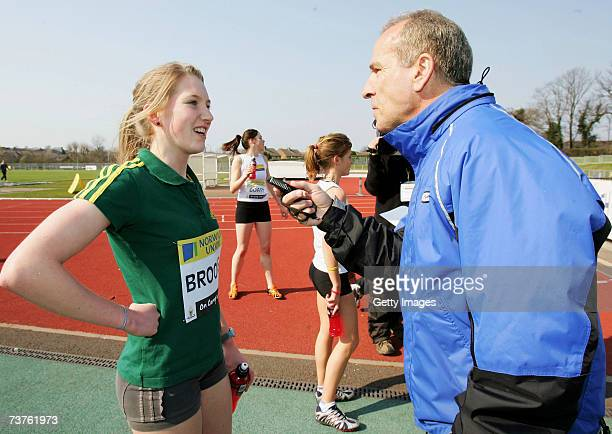 Hannah Brooks is put through a mock interview after her race during an 'On Camp with Kelly' Open Media Day at Loughborough University Athletics Track...