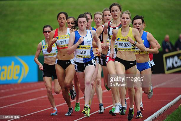 Hannah Brooks of Crawley AC and Laura Muir of Dundee Hawkhill Harriers lead the field in the 1500 metres during day three of the Aviva 2012 UK...