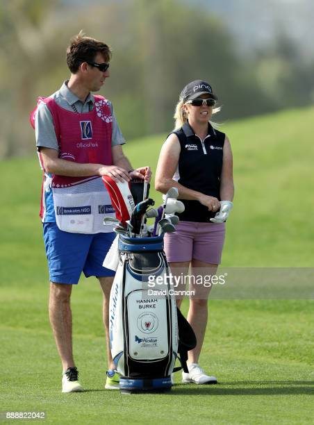 Hannah Burke of England waits to play her second shot on the 13th hole during the final round of the 2017 Dubai Ladies Classic on the Majlis Course...