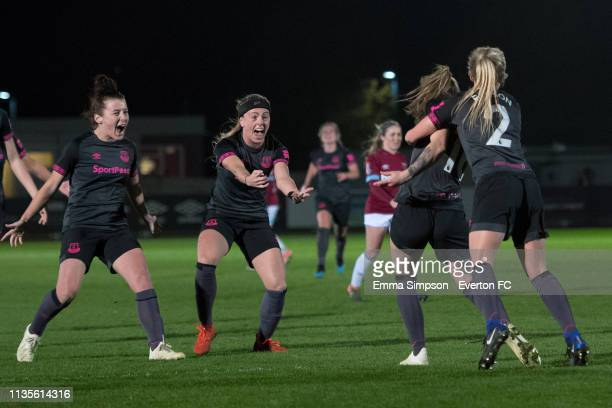 Hannah Cain of Everton Ladies celebrates goal with team mates Angharad James Simone Magill and Faye Bryson during the WSL match against West Ham...