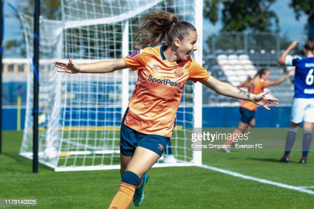 Hannah Cain of Everton reacts to own goal putting Everton 01 up during the Barclays FA Women's Super League match between Birmingham City and Everton...
