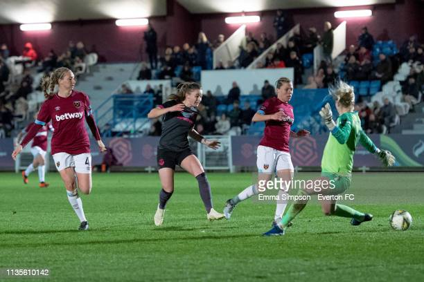 Hannah Cain of Everton scores to put Everton Ladies 10 up against West Ham United Women in the WSL match at Rush Green on March 13 2019 in Romford...