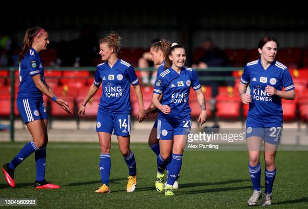 Hannah Cain of Leicester City celebrates after scoring their sides first goal during the Barclays FA Women's Championship match between Leicester...